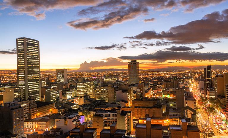 Vista del atradecer desde Bogotá