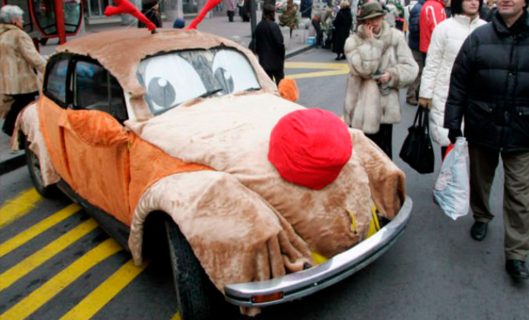 disfraz para navidad de auto rodolfo el reno
