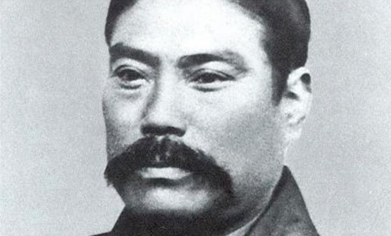 Retrato de Yataro Iwasaki fundador de Mitsubishi