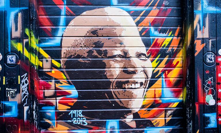 Graffitti de Nelson Mandela en Sudáfrica